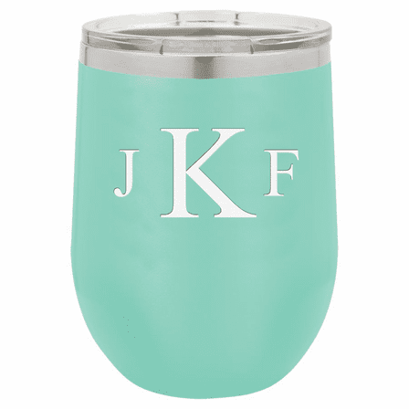 Roman Monogram 12 Ounce Teal Insulated Stemless Wine Glass