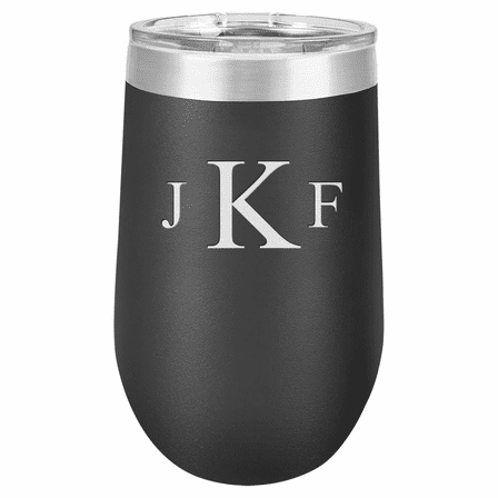 Roman Monogram 16 Ounce Black Insulated Stemless Wine Glass