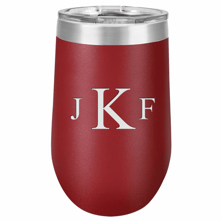 Roman Monogram 16 Ounce Maroon Insulated Stemless Wine Glass