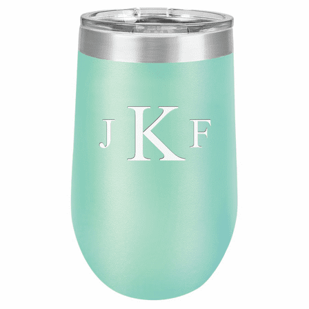 Roman Monogram 16 Ounce Teal Insulated Stemless Wine Glass