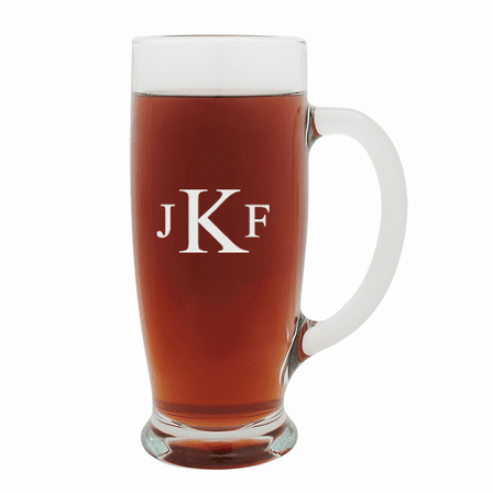 Roman Monogram   18 Ounce Pilsner Glass with Handle