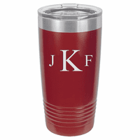 Roman Monogram 20 Ounce Maroon Polar Camel Travel Mug