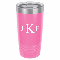 Roman Monogram 20 Ounce Pink Polar Camel Travel Mug