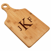 Roman Monogram  Bamboo Paddle Shape Cutting Board