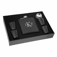 Roman Monogram Black Flask & Shot Cups Gift Set