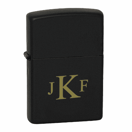 Roman Monogram  Black Matte Zippo Lighter