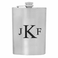 Roman Monogram  Stainless Steel Flask