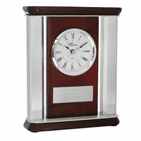 Rosewood & Aluminum Personalized Desktop Clock