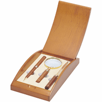 Rosewood & Brass Pen, Letter Opener and Magnifier Gift Set