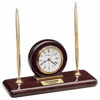 Rosewood Desk Set Desktop Clock by Howard Miller