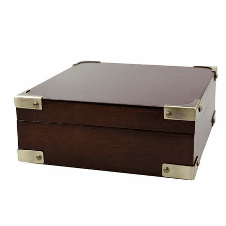 Rosewood Finish Keepsake Chest with Brass Corner