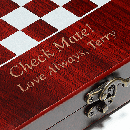 Rosewood Finish Personalized Chess Set