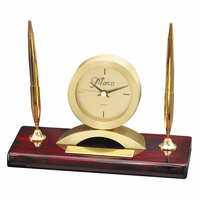 Rosewood & Gold Personalized  Dual Pen Stand & Clock