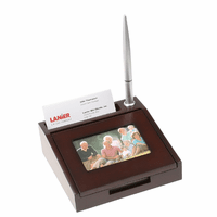 Rosewood Memo & Business Card Holder with Photo Frame