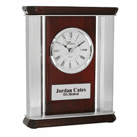 Rosewood & Metal Personalized Desktop Clock