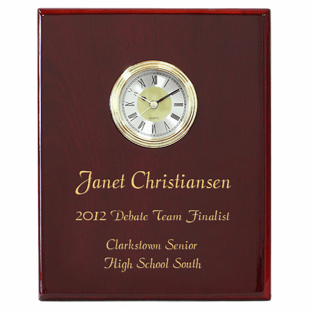 Rosewood Piano Finish Recognition Wall Plaque with Clock