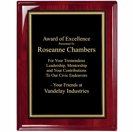 Rosewood Plaque With  Black & Gold Engraving Plate - RP114