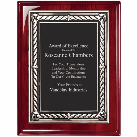 Rosewood Plaque With Embossed Engraving Plate - RP148