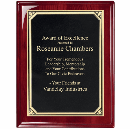 Rosewood Plaque With  Florentine Engraving Plate - RP100