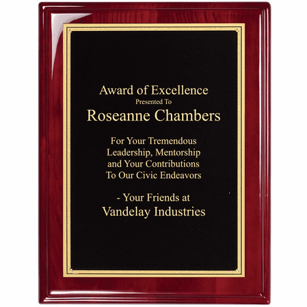 Rosewood Plaque With  Florentine Engraving Plate - RP147
