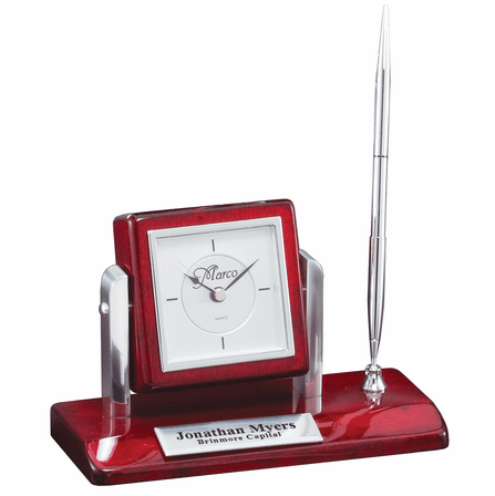 Rosewood & Silver Personalized  Pen Stand & Clock