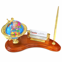 Rotating Globe Personalized Pen Stand with Business Card Holder