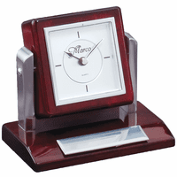 Rotating Piano Finish Rosewood Desk Clock