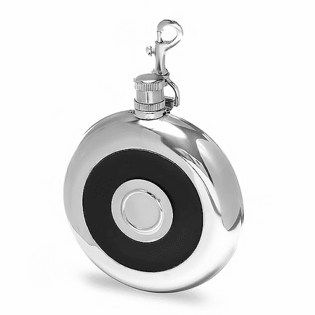 Round Black Leather Flask with Shot Cup