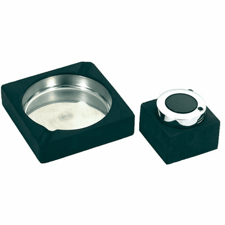 Rubberized Stainless Ashtray & Table Lighter Set