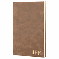Rustic Brown Journal with Black Satin Bookmark with Personalized Initials