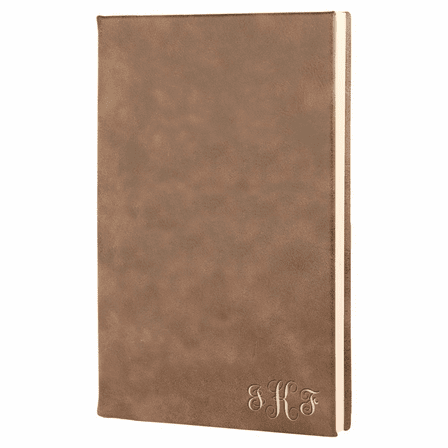Rustic Brown Journal with Black Satin Bookmark with Script Monogram