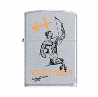 Sagittarius Astrological Sign Satin Chrome Zippo Lighter - ID# 64647