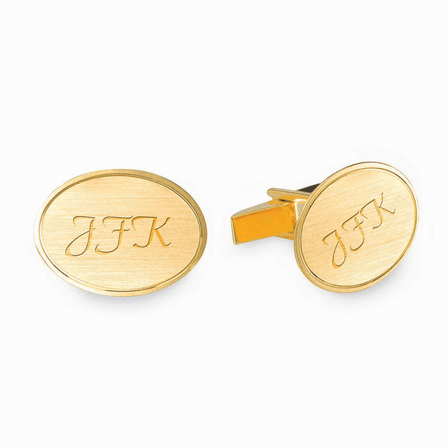 Satin Finish Oval Engraved 14K Gold Cufflinks with Polished Border