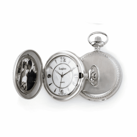 Satin Steel Photo Insert Quartz  Pocket Watch
