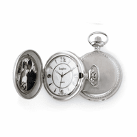 Satin Steel Photo Insert Quartz  Pocket Watch - Discontinued