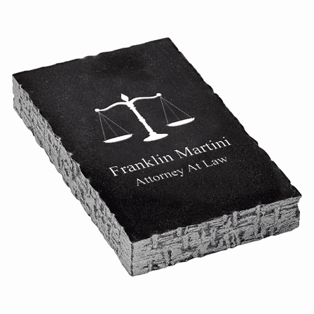Scales of Justice Emblem Personalized Black Marble Paperweight