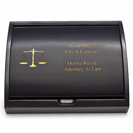 Scales of Justice Lawyer's Pen & Business Card Holder Set