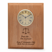 Scales of Justice Lawyer's Recognition Wall Plaque With Clock