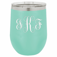 Script Monogram 12 Ounce Teal Insulated Stemless Wine Glass