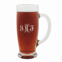 Script Monogram   18 Ounce Pilsner Glass with Handle