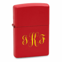 Script Monogram Red Matte Zippo Lighter