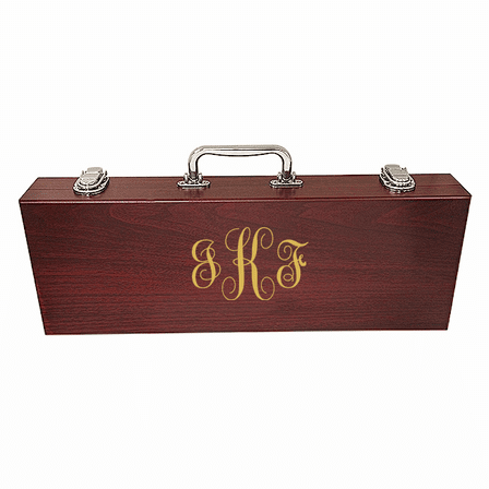 Script Monogram   Rosewood Barbecue Set