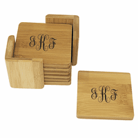 Script Monogram   Square Bamboo Coaster Set