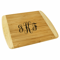 Script Monogram  Two Tone Bamboo Cutting Board - Large