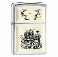 Ship Emblem High Polish Chrome Zippo Lighter