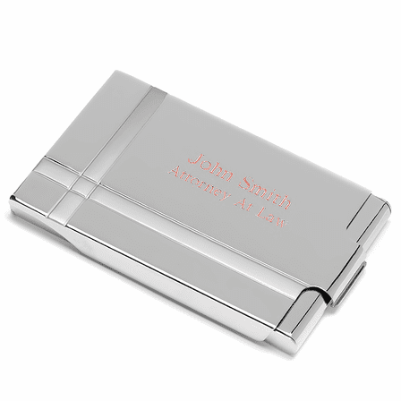 Side Loading Business Card Holder With Intersecting Lines