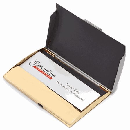 Silver & Gold Business Card Holder with Three Dot Design