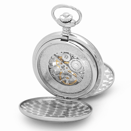 Silver Mechanical Charles Hubert Pocket Watch and Chain #3564