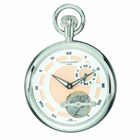 Silver Open-Faced Charles Hubert Pocket Watch & Chain #3901-W