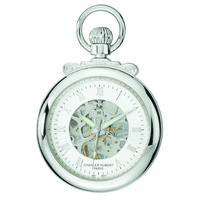 Silver Open-Faced Charles Hubert Pocket Watch & Chain #3903-W
